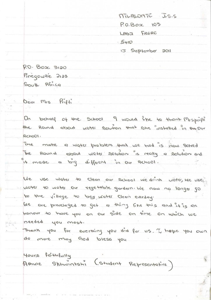 Student Representative letter