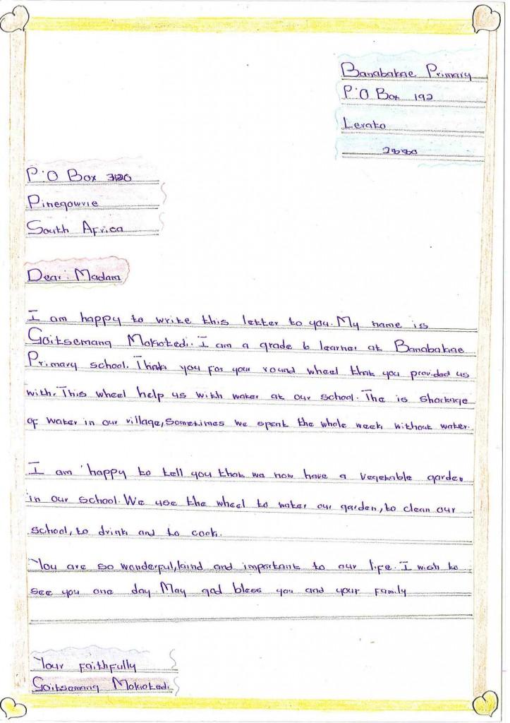 Thank you letter from Goitsemang Mokotedi