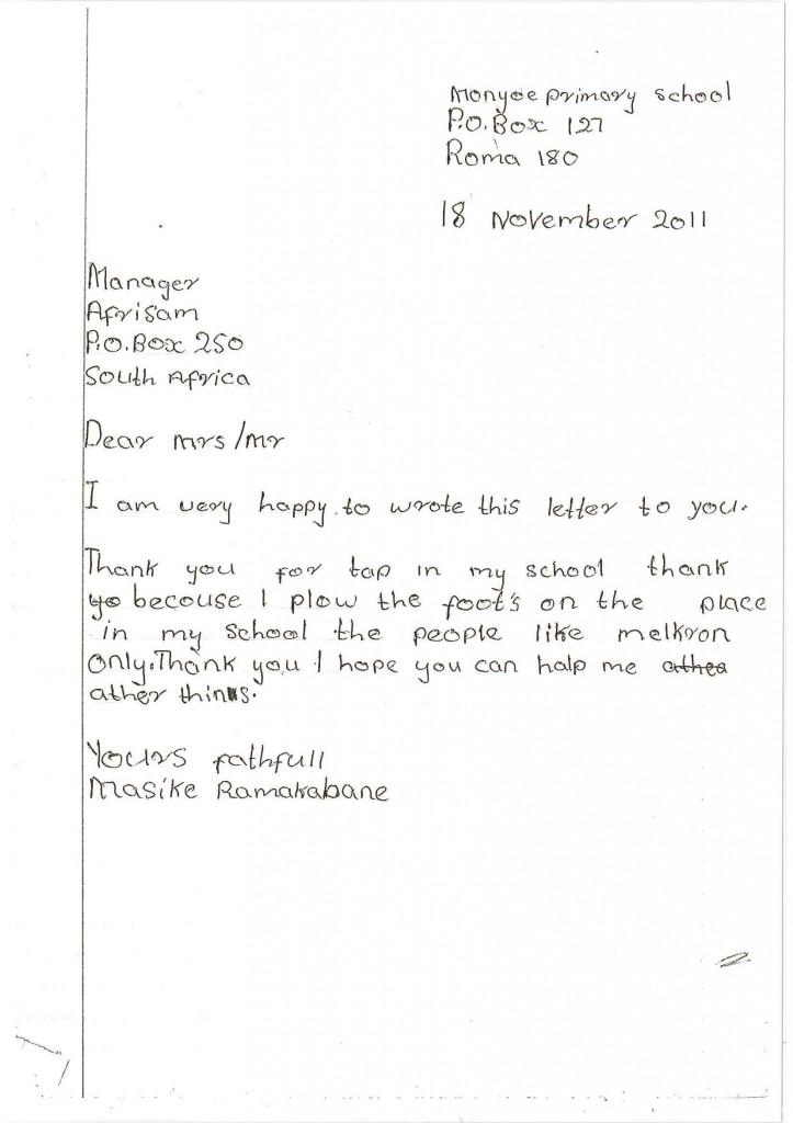 Masike Ramakabane's letter of thanks